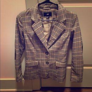 H&M plaid brown and black blazer
